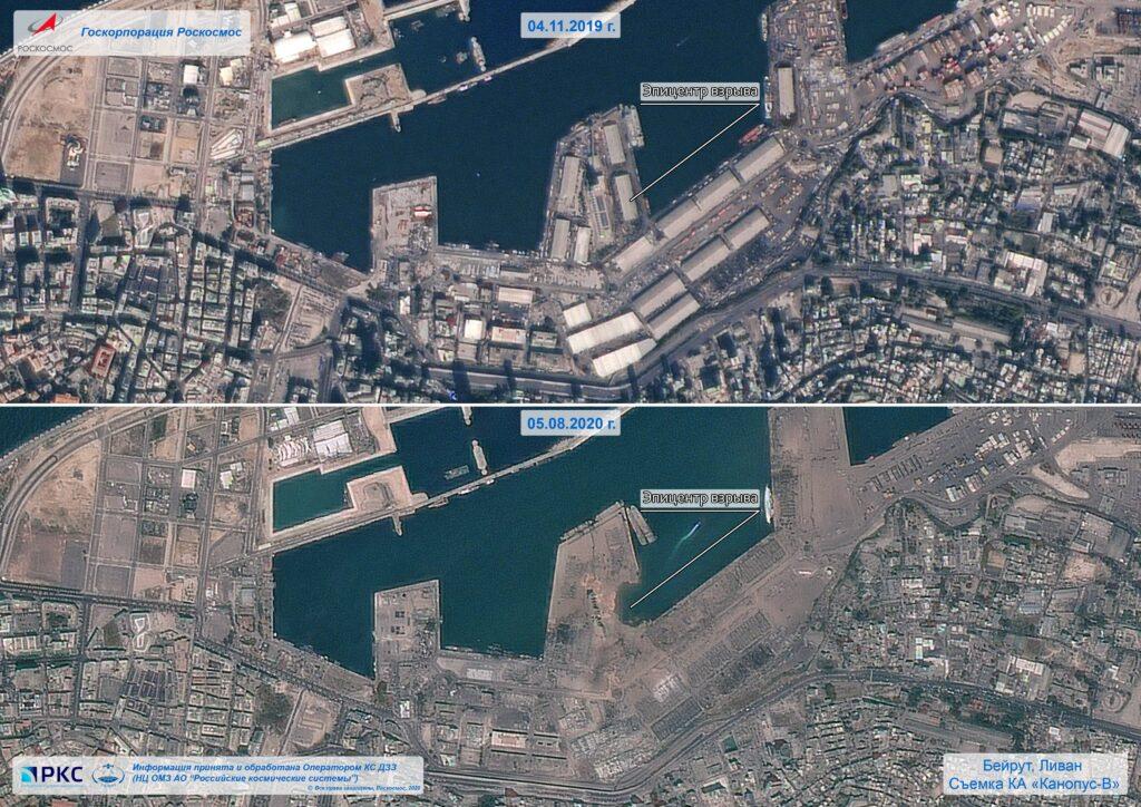 منطقة مرفأ بيروت - قبل وبعد انفجار العنبر رقم 12 - الدمار الكبير