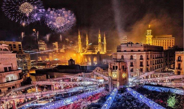 صورة للاحتفالات في وسط بيروت