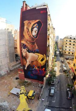 """جدارية الفنان التشيلي """"إنتي"""" في شارع الحمرا"""